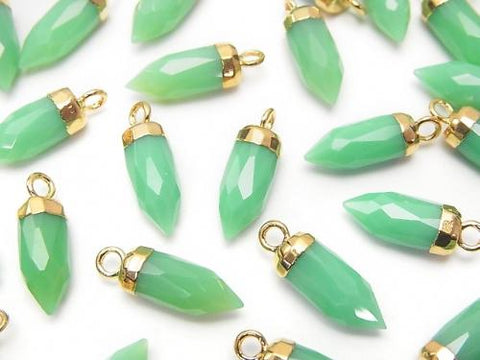 2pcs $7.79! Green Color Chalcedony Faceted Point Charm Gold Color 2pcs