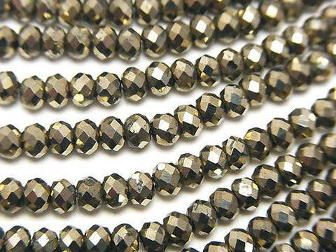Diamond Cut!  1strand $9.79!  Pyrite AAA Faceted Button Roundel 4x4x2.5mm 1strand (aprx.15inch/38cm)