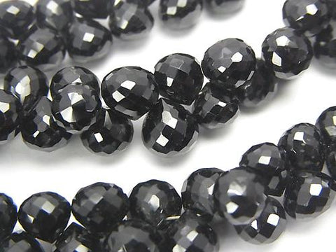 High Quality Black Spinel AAA - Onion Faceted Briolette half or 1strand (aprx.9 inch / 24 cm)