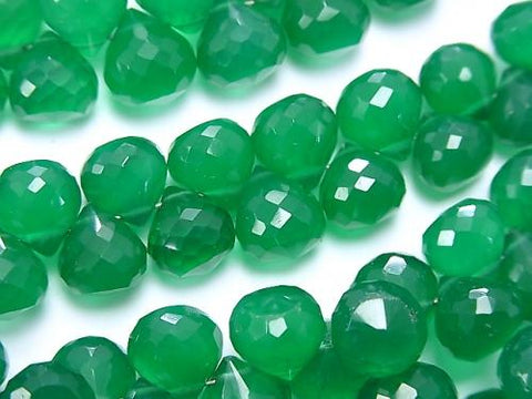 High Quality Green Onyx AAA Onion Faceted Briolette half or 1strand (aprx.7inch / 18cm)