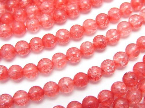 1strand $5.79! Red color 1 Cracked Crystal Round 4mm 1strand (aprx.15inch / 38cm)