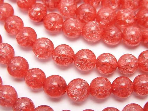 1strand $6.79! Red color 1 Cracked Crystal Round 6mm 1strand (aprx.15inch / 37cm)