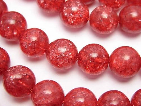 1strand $8.79! Red color 1 Cracked Crystal Round 10mm 1strand (aprx.15inch / 36cm)