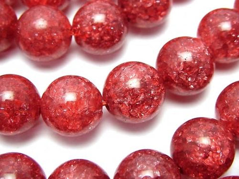 Red color 1 Cracked Crystal Round 12 mm half or 1 strand (aprx.15 inch / 37 cm)