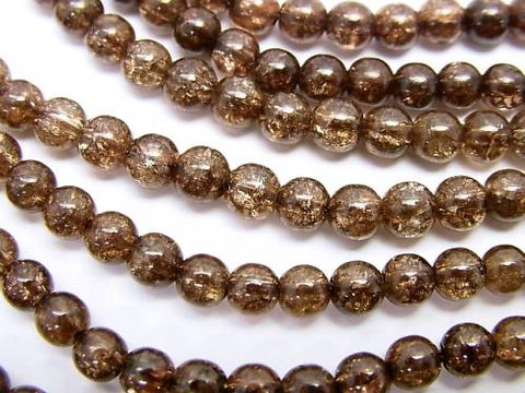 1strand $5.79! Brown color Cracked Crystal Round 4mm 1strand (aprx.15inch / 37cm)