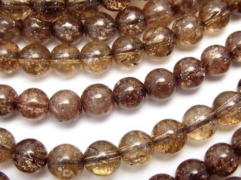 1strand $6.79! Brown Color Cracked Crystal Round 6mm 1strand (aprx.15inch / 38cm)