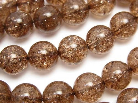 1strand $8.79! Brown Color Cracked Crystal Round 10mm 1strand (aprx.15inch / 36cm)