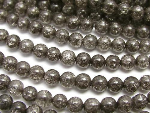 1strand $5.79! Black color Cracked Crystal Round 4mm 1strand (aprx.15inch / 37cm)