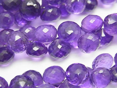 High Quality Amethyst AAA Onion  Faceted Briolette  1/4 or strand (aprx.7inch/18cm)