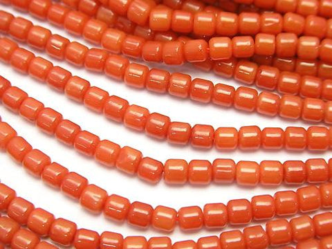 1strand $4.79!Red  Coral (Dyed) Roundel (Tube) 3 x 3 x 3 mm 1strand (aprx.15 inch / 38 cm)