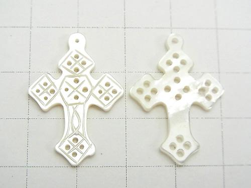 1pc $4.79! High Quality White Shell Watermark Cross 27 x 19 x 2 mm 1 pc