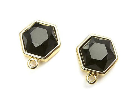 1pair $7.79! Earstuds Earrings Copper 1pair with Hexagon Onyx