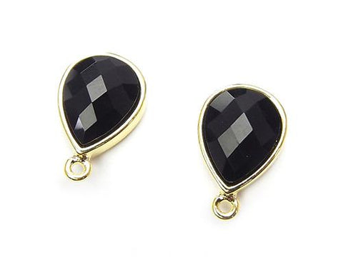 1pair $7.79! Earstuds Earrings Copper 1pair with Pear shape Onyx