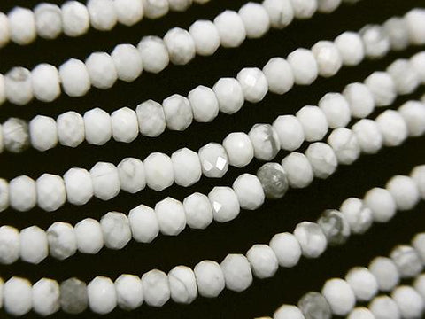 Diamond Cut!  1strand $9.79! Howlite Magnesite  Faceted Button Roundel 3x3x2mm 1strand (aprx.15inch/37cm)