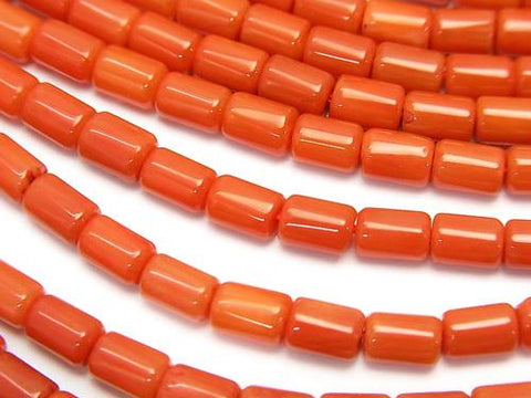 1strand $6.79!Red  - Orange Coral (Dyed) Tube 5 x 4 x 4 mm 1strand (aprx.15 inch / 38 cm)