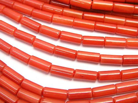 1strand $4.79!, Red Coral (Dyed) Tube 7 x 3 x 3 mm 1strand (aprx.15 inch / 38 cm)