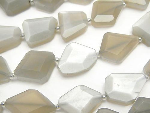 Gray Moon Stone AAA - Flat Faceted Nugget half or 1strand (aprx. 14 inch / 34 cm)