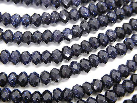 High Quality!  1strand $9.79! Blue Golden Sand Stone  Faceted Button Roundel 4x4x2.5mm 1strand (aprx.15inch/37cm)
