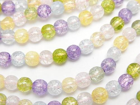 1strand $5.79! Multi Color Cracked Crystal Round 4mm NO.1 1strand (aprx.15inch / 38cm)