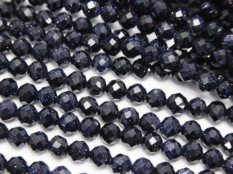 Diamond Cut!  1strand $7.79! Blue Golden Sand Stone  Faceted Round 4mm  1strand (aprx.15inch/37cm)