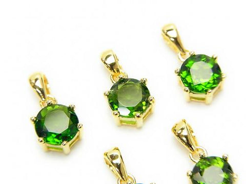 High Quality Russian Chrome Diopside AAA Brilliant Cut Pendant 7 x 6 x 5 mm 18 KGP