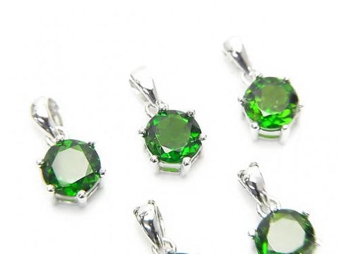 High Quality Russian Chrome Diopside AAA Brilliant Cut Pendant 7 x 6 x 5 mm Silver 925