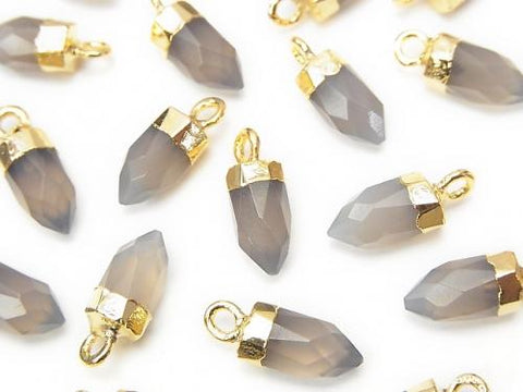 2pcs $6.79! Gray Onyx Faceted Point Charm Gold Color 2pcs