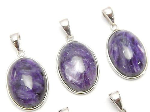 1pc $23.99! High Quality Charoite AAA Pendant 20x14mm Silver925 1pc