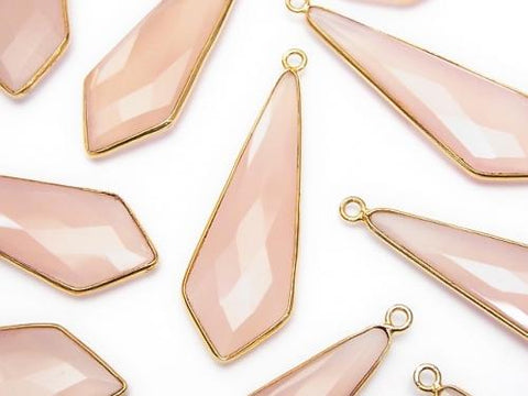 Pink Chalcedony Bezel Setting Faceted Marquise 46 x 16 x 5 mm 18 KGP 2 pcs $24.99!