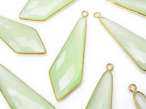 Light green Chalcedony Bezel Setting Faceted Marquise 46 x 16 x 5 mm 18 KGP 2 pcs $24.99!