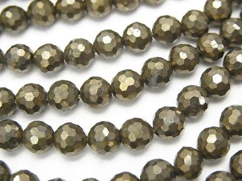 Diamond Cut!  Pyrite AAA 128Faceted Round 6mm half or 1strand (aprx.15inch/37cm)