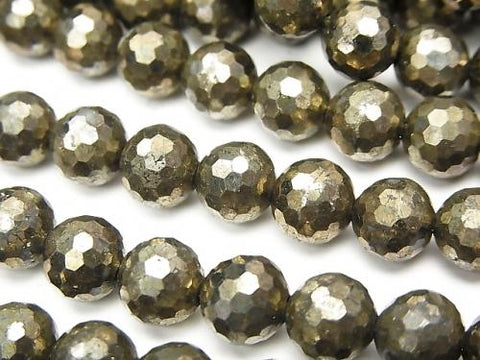 Diamond Cut!  Pyrite AAA 128Faceted Round 8mm half or 1strand (aprx.15inch/37cm)