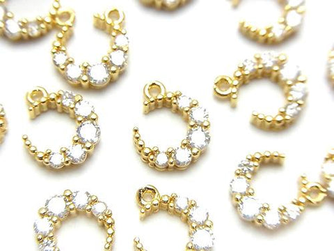 2pcs $2.79! Metal Parts Crescent Charm Gold Color (with CZ) 2pcs