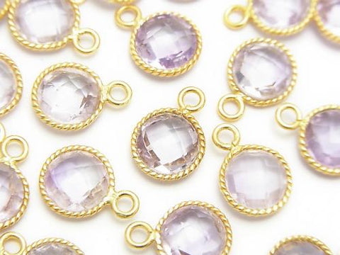 Pink Amethyst AAA Bezel Setting Faceted Coin 18KGP 3pcs $8.79!