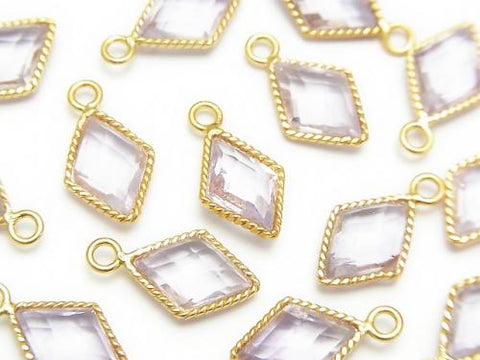 Pink Amethyst AAA Bezel Setting Diamond Shape 18KGP 3pcs $9.79!