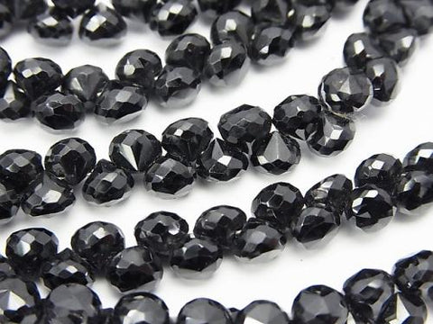High Quality Black Spinel AAA Onion Faceted Briolette half or 1strand (aprx.7inch / 18cm)