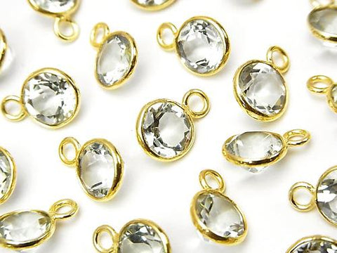 High Quality Green Amethyst AAA Bezel Set Coin Faceted 8 mm 18 KGP 5 pcs $9.79!
