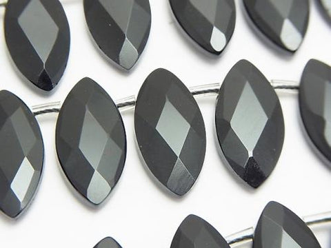 Onyx  Faceted Marquise 20x10x4mm half or 1strand (aprx.15inch/38cm)