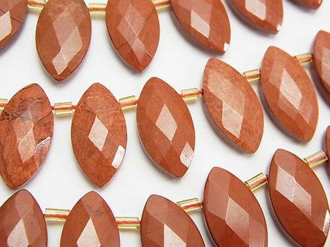 Red Jasper Faceted Marquise 20 x 10 x 5 mm half or 1 strand (aprx.15 inch / 36 cm)