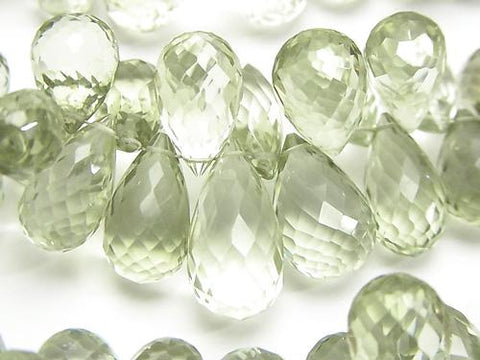 High Quality Green Amethyst AAA Drop Faceted Briolette half or 1strand (aprx.8inch / 20 cm)