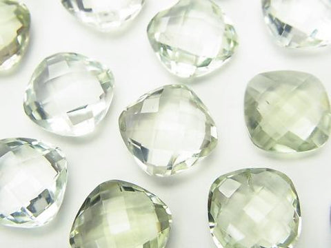 High Quality Green Amethyst AAA Undrilled Square Cushion Cut 12 x 12 x 6 mm 3 pcs $9.79!