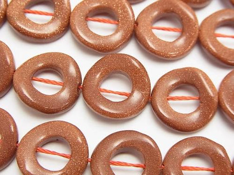 Golden Sand Stone Twist Coin (Donut) 15 x 15 x 3 mm half or 1 strand (aprx.15 inch / 37 cm)