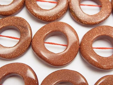 Golden Sand Stone Twist Coin (Donut) 25 x 25 x 5 mm half or 1 strand (aprx.15 inch / 37 cm)