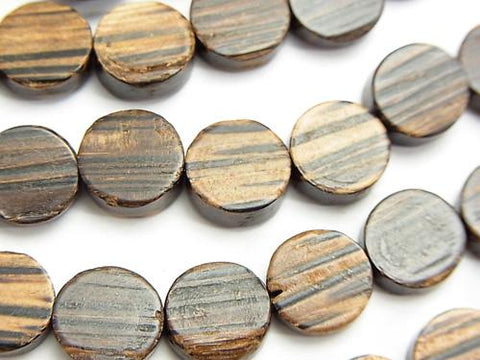 1strand $5.79! Palm Wood Coin 10 x 10 x 4 mm [Dark Color] 1strand (aprx.15 inch / 38 cm)