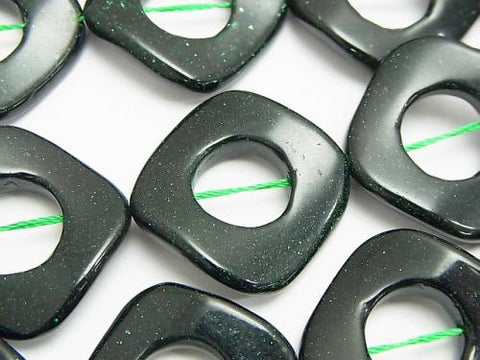 Green Goldstone Twist Diamond (Donut) 28 x 28 x 4 mm half or 1 strand (aprx.15 inch / 37 cm)