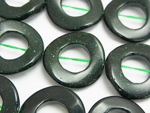 Green Goldstone Twist Coin (Donut) 25 x 25 x 4 mm half or 1 strand (aprx.15 inch / 37 cm)