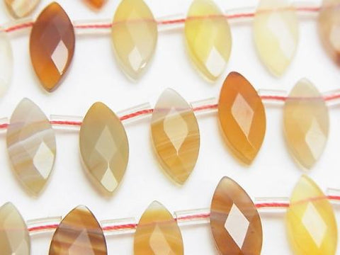 Natural Agate Faceted Marquise 15 x 7 x 3 mm half or 1 strand (aprx.15 inch / 37 cm)