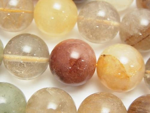 Multicolor Rutilated Quartz AA + Round 16 mm half or 1 strand (aprx.15 inch / 36 cm)