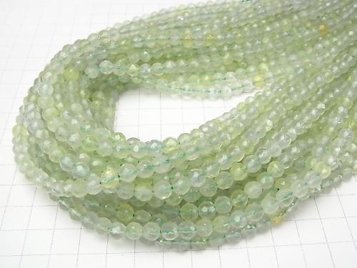 Prehnite AAA- 64Faceted Round 6mm 1strand (aprx.15inch/38cm)