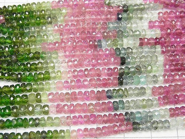 High Quality Multicolor Tourmaline AAA Faceted Button Roundel half or 1strand (aprx.15 inch / 38 cm)